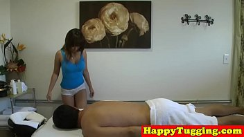 longhaired asian masseuse spoils dick
