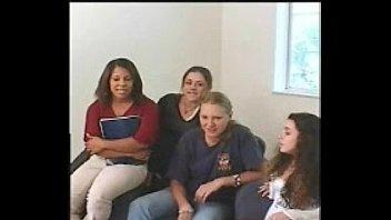 4 girls watching guy jerk off.
