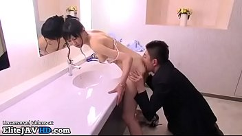 japanese office lady gets fucked in the bathroom.