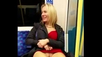 blond showing her pussy in subway