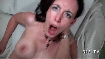 amateur busty french brunette fucked hard and facialized.