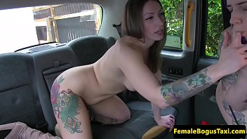 female taxi driver fingering fishnet lesbian