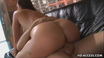 sexy brunette takes on two cocks and takes.