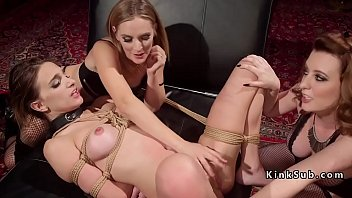 cuffed and collared babe gets caned