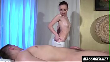 young couple slow oily massage fuck