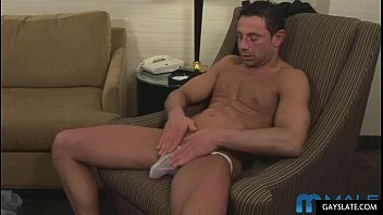 hot mature muscle guy plays with.