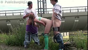 young teen girl alexis crystal public threesome gang.