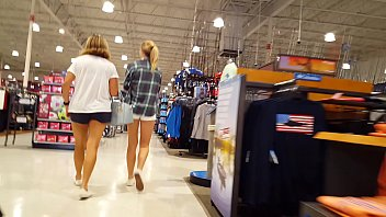 candid teen blonde shopping with mom hot tight shorts