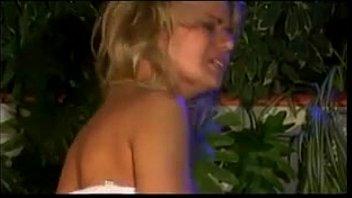 blonde in white lingerie fucking outside