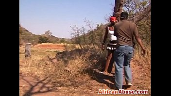torturing african slut outdoors tied up.