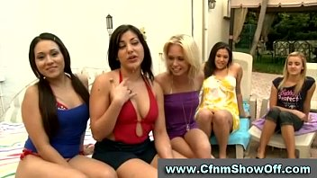 horny cfnm chicks watch guy jerk off at party