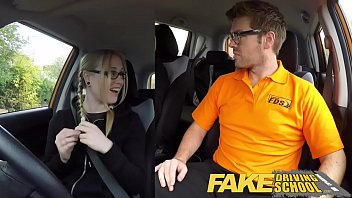 fake driving school creampie for teen leaner with.