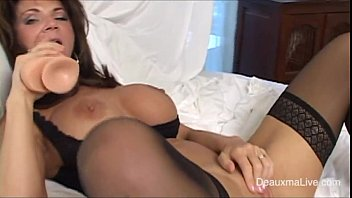sexy mature in black lingerie getting squirt with dildo