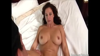 fucking a big tit brunette milf in front.