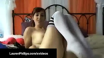 firecrotch laurenphillips bangs her pussy live in knee highs