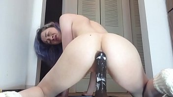 young girl have hard anal with big black dildo.