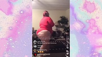 Bbw Red Shaking Her Pear Shaped Ass on Instagram Live.