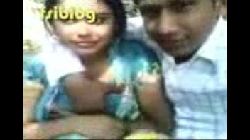 bengali beauty smooches, her boobs pressed in park,.