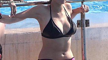 sexy bikini topless pool babes