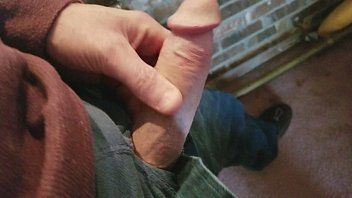 stroking, getting ready for blowjob from slut neighbor,.