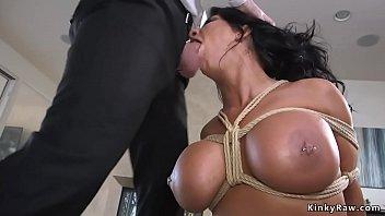 huge tits milf fucks in rope.